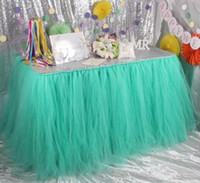Wholesale Green Bridal Shower - Tutu Table Decoration for Weddings Invitation Birthdays Baby Bridal Showers Parties Tulle Table Skirt free shipping WQ19