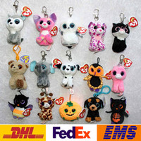 Wholesale Big Eye Ring - Big Eyes Animals Plush Doll Key Rings TY Cartoon Beanie Boos Car Bags Cell Phone Pendant Keychain Of Children XMAS Toys Gifts WX-K44