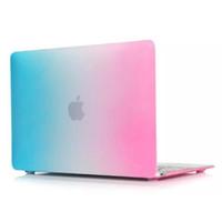 13 inç lastik kaplı macbook çantası toptan satış-Dazzle Renk Mat Sert Lastik Kılıf Kapak Koruyucu Macbook Hava Pro için Retina ile 12 13 15 inç Laptop Kristal Renkli Gökkuşağı Kabuk