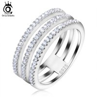 Wholesale Layers Rows - ORSA Jewels 3 Rows AAA Cubic Zircon Ring on 3 Layer Platinum Plated Luxury Jewelry Ring for Lady OR80