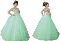 Girl Beads Organza Sparkle Mint Pageant Girl Dress With Crystal Beadings Glitz Ball Gowns For Wedding Party Sweet Kids Dresses