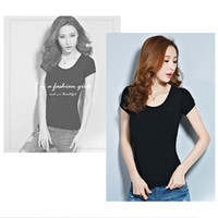 Scoop Neck blank dress shirts - T shirt dress female Leica blank short sleeved summer candy color female T shirt bottoming