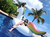 Wholesale Swim Rings Seat - 108 inch 2.75M Giant Unicorn Inflatable Seat-On Pool Toy Float inflatable Unicorn pool Swim Ring Holiday Water Fun Pool Toys