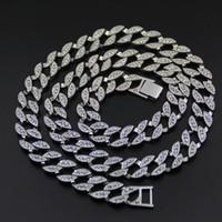 collar de eslabones de cadena de oro blanco al por mayor-Oro blanco de 18 quilates cubierto de nieve CUBAN Miami Chain Link Micro Pave Lab Collar de diamante CZ 140g 76CM 30INCH 15MM de ancho