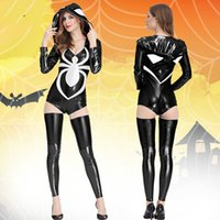 Wholesale Adult Black Spider Costume - Adult Woman Costume Sexy White Spider Uniform Set Fancy Jumpsuits Female Fantasy Costumes Girls Cosplay Party Gown Clothes