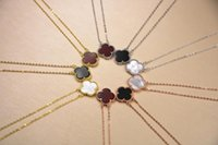 Wholesale Lucky Brand Necklaces - Brand design S925 sterling silver 18K gold plat jewelry necklaces pendants for women four Leaf Clover choker double black agate lucky chain