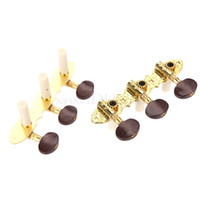 botões de ajuste de peg venda por atacado-Guitarra Clássica Tuner Pegs Pegs Machine Heads Brown Button Gold