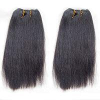 Wholesale Good Quality Hair Extensions - 2pcs lot Brazilian Light Yaki Human Hair Weaves Good Quality Yaki Straight Remy Hair Extension Post Mail Free Shipping
