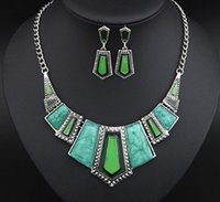Wholesale American Jewellery Designs - Wholesale Jewellery Sets Fashion European Brand Design Popular Elegant Immitation Stone Geometric Necklace Earring Sets Women Accessories