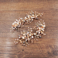 Wholesale hair clip barrette comb resale online - beijia Gold Leaf Hair Clips Barrettes Beaded Bridal Hair Jewelry Wedding Accessories Hair Combs Vintage Women Headpiece