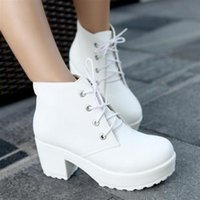 Wholesale Boots Platform Chunky Heel White - Free Shipping Hot Sale Ladies Girls Locomotive boots Martin boots platform shoes short boots Women Chunky Heel Ankle Knight boot