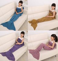 Kids Crochet Mermaid Decken Handgemachte Mermaid Decken Nap Decken Handgemachte Mermaid Kinder Swaddle Schlafdecke 70 * 140 cm D625 20