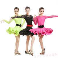 Wholesale Costumes For Students - Student Children Lace Latin Dancewear Competition Dancing Clothing Girl Dance Costume Child Latin Ballet Dance Dress For Girls