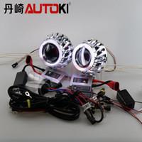 Wholesale Bixenon Projector Lens - Autoki Double Angel Eyes HID Bixenon Projector Lens Kit LHD RHD with 35W HID Ballast Xenon Lamp 4300K-8000K Car Light