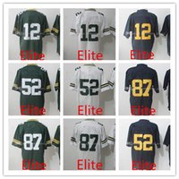 Wholesale Clay Matthews - MEN'S Football Jerseys Aaron Rodgers #12 Jordy Nelson #87 Clay Matthews #52 Blue White Green Elite jersey Stitched Logos