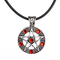 Wholesale Wicca Pentacle - supernatural Pentagram leather chain Pendant Necklaces Wicca Pagan Gothic Pentagram Pentacle Star Crystal Pendant Five Pointed Star For Men