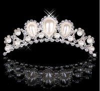 Diamantes de imitación Perlas Coronas Joyerías Tiaras Nupciales Baratas Wedding Party Dama de honor Accesorios para el cabello Tocados Hair Band For Brides