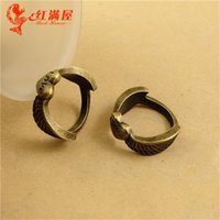 Wholesale Wholesale Fashion Jewellery Korea - A2193 22MM Antique bronze plated Love heart ring jewelry Korea New Vintage angel wings, alloy finger ring for women, fashion ring jewellery