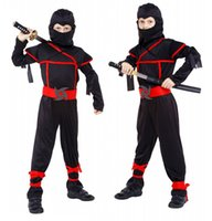 TV & Movie Costumes black ninja costume - New Japanese Anime Halloween baby boys Ninja Warrior Clothing cosplay Masked black Naruto suits for kids Halloween Costumes