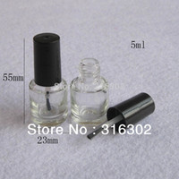 Wholesale Empty Nail Polish Bottle 5ml - Wholesale- 300 x 5ml Small Empty Round Nail Polish Bottle & Small Brush Nail Art Container Small Empty Glass Bottles