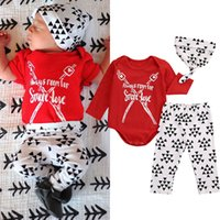 Wholesale Zebra Leggings Hot - hot sale kids fashion suits Newborn Baby Girls Boys cotton Clothes Red Tops romper+Pants Leggings+hat 3pcs high quality children Outfits Set