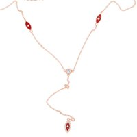 Wholesale sterling silver evil eye charms - 2017 fashion jewelry 100% 925 sterling silver red enamel evil eye sexy women lariat delicate chain Y silver long necklace