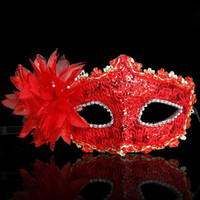 Wholesale Masquerade Dresses Children - 10pcs Children Lace Eye Mask Venetian Masquerade Halloween Ball Prom Costume Fancy Dress Dance Party 2 colors
