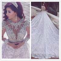 Wholesale Say Crystals - Luxury Said Mhamad White Wedding Dresses Lace Long Sleeve Crystals A Line Wedding Dress Royal Train Formal Women Bridal Gown Brautkleid