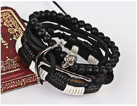 Wholesale Wholesale Bracelets Skulls - European and American set of hand-chain fashion punk skull club performance bracelet lovers' bracelet