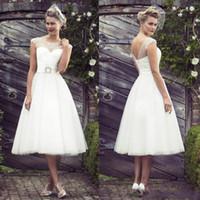 Wholesale Sexy Aline Wedding Dresses - Vintage White Short Wedding Dresses Sheer Sash Crystal ALine Knee Length Custom Made Wedding Dress Bridal Gowns Vestidos De Novia Under $100