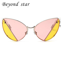 All'ingrosso-Oltre Star Fashion Vintage Metal Frame Sexy Cat Eye Occhiali da sole Party Two Tone Retro Occhiali da sole Pink Yellow Tinted Lens UV400