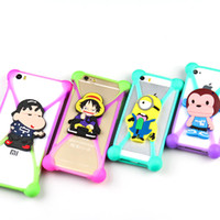 Wholesale Iphone Case Bumper Silicon - Universal 3D Cartoon Silicon Frame Bumper Case Stitch Minnie kitty Minions Cases Suit For Iphone Samsung Xiaomi Huawei Under 6''screen 500pc