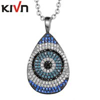 Wholesale Evil Eye Pendants - KIVN Fashion Jewelry Turkish Blue Evil eye Pave CZ Cubic Zirconia Womens Girls Bridal Wedding Pendant Necklaces Birthday Christmas Gifts