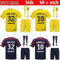 Wholesale Badminton Kit - 2017 NEYMAR JR 10 Paris Saint soccer jersey kids kit home DI MARIA 17 18 away Germain MATUIDI CAVANI T SILVA LUCAS footbll shirt
