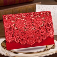 Wholesale Invitation Lace Red - Wedding Invitation 2016 New Patter Red Sample Personalised Handmade Laser Cut Lace Wedding Invitation Envelope H30 Wedding Invitations Cards