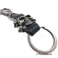 Wholesale Leather Handmade Key Ring - y045 leather Key chain ring,men punk leather skull wing key chain,fashion jewlery,handmade jewelry,100% genuine leather leather chesterfi...