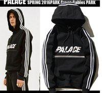 Wholesale Warm Long Hoodies - Winter warm PALACE hoodies Letter Print Pullover Men hoodie Sweatshirt