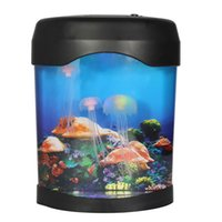 Venta al por mayor- Moda LED medusas tanque mar mundo natación humor luz de la lámpara Nightlight luz multicolor pescado Aquatic Pet Supplies