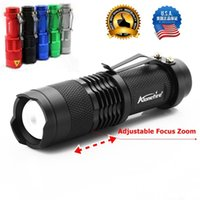 Wholesale Flash Light Cree Aa - ALONEFIRE SK68 CREE XPE Q5 LED 3 mode Portable Zoomable Mini Flashlight torches Adjustable Focus flash Light Lamp For AA or 14500