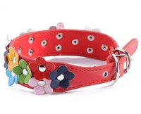 Wholesale flower cat collars - Fashion Leather Puppy Pet Dog Collar Cat Neck Strap Necklace with Studded Sweet Flower 8Colors G1025