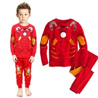 Wholesale Cotton Red Pajamas For Kids - 2016 Autumn Kids Boys Pajamas Sleepwear Clothes Sets Long Sleeve Cotton Super Heros Ironman Spiderman Captain America For Boys Free Shipping