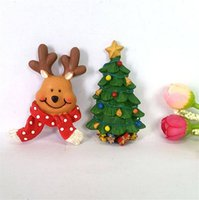 nevera de navidad magnética al por mayor-2018 Navidad Nevera Imanes Navidad Refrigerador Etiqueta Decoración Resina Regalos Ciervo Árbol de Navidad Resina Etiqueta Magnética