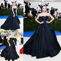 Wholesale Dresses Met - 2017 Met Gala Ball Gown Prom Dresses Long Candice Swanepoe In Strapless Neck Black Evening Dress Red Carpet Celebrity Gowns
