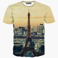 Wholesale Eiffel Tower T Shirt Men - tshirt Europe Fashion t-shirt men women 3d t shirt summer tops tees print City Paris Eiffel Towers short sleeve tshirt