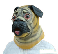 Wholesale Dog School Costume - Creepy Puppy Dog Head Latex Mask Halloween Animal Happy Dog Face Rubber Masks Party Masquerade Cosplay Costume Props Adult Size