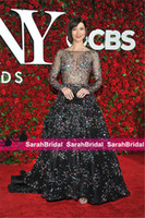 imagens de celebrity red carpet venda por atacado-Real fotos Mary Couture Tony Awards Celebridade noite dressess Red Carpet Dresses Real Imagem 2019 Cristais Evening Prom Vestidos