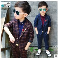 Wholesale Groom Girl Suit - Wholesale-Retro gentleman style Boy's suits tailor suit Blazer suits for boy 2 piece (Jacket+Pants)The suits Groom Tuxedos Flower girl