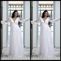 Wholesale Long Flowing Dresses Sexy - Beautiful Plus Size Wedding Gowns 2016 Ivory Beach Cheap V Neck Lace Bodice Empire Waist Flowing Chiffon Long Bridal Gowns with Long Sleeve