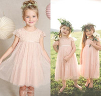 Wholesale Cute Dresses For Children - 2016 New Cute Blush Flower Girls Dresses for Weddings Lace Top Cap Sleeve Girls Pageant Party Gowns First Communion Dress for Child Toddler