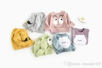 Wholesale Mustache Hoodie - INS NEW ARRIVAL boys girl 100% cotton Long Sleeve cartoon bear mustache eye print hoodies child clothe pullover outerwear baby kids hoodies